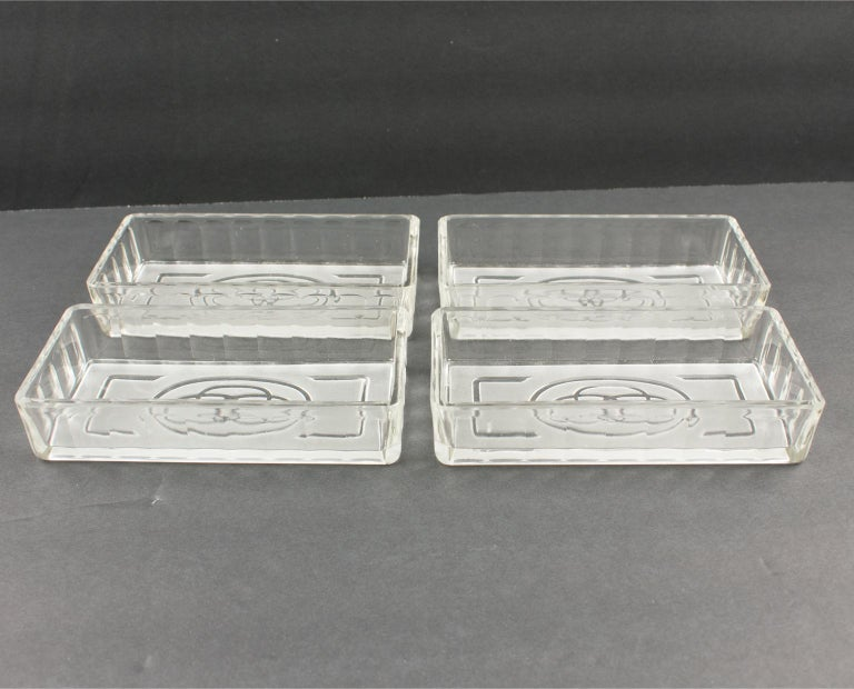 French Art Deco Cocktail Barware Set Chrome Tray with Glass Dishes 11