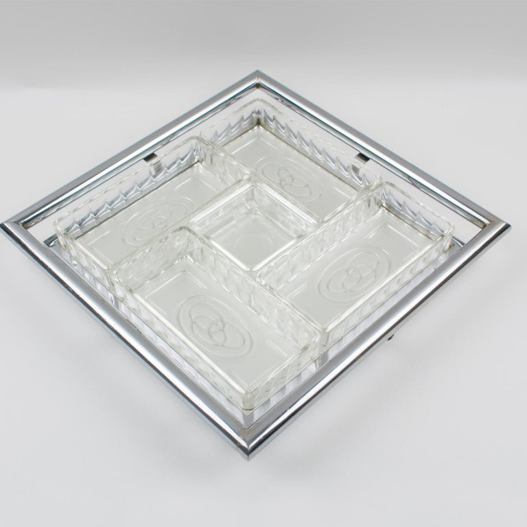 French Art Deco Cocktail Barware Set Chrome Tray with Glass Dishes 1