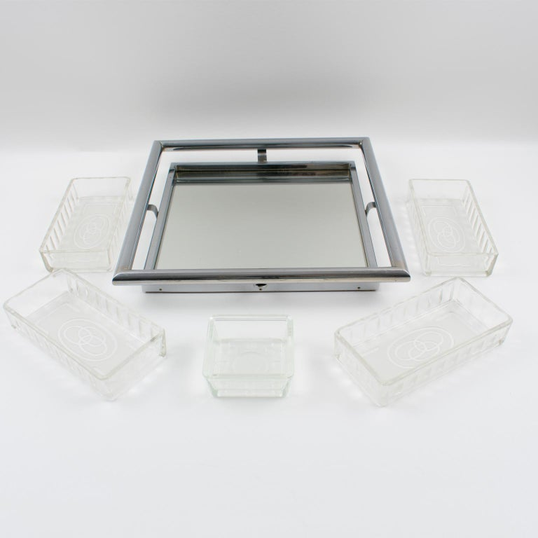 French Art Deco Cocktail Barware Set Chrome Tray with Glass Dishes 2