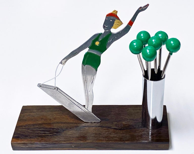French Art Deco Cocktail Picks Set, Probably Sudre, circa 1930 In Good Condition For Sale In Toronto, Ontario