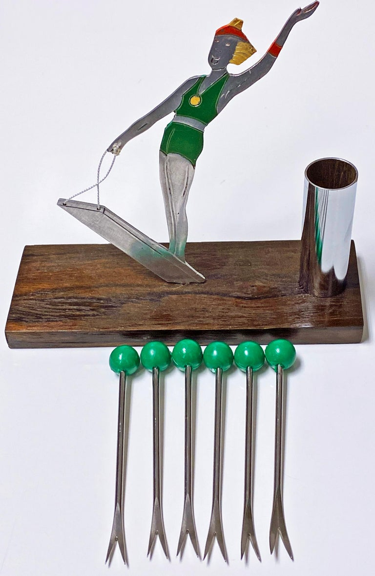 20th Century French Art Deco Cocktail Picks Set, Probably Sudre, circa 1930 For Sale