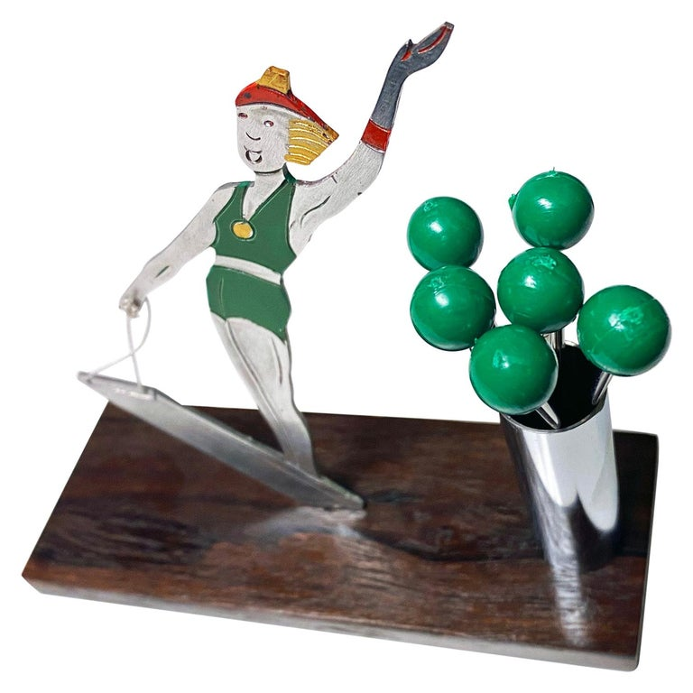 French Art Deco Cocktail Picks Set, Probably Sudre, circa 1930 For Sale