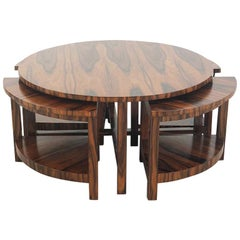 French Art Deco Coffee Table in Macassar Ebony, Attributed to Pierre Chareau