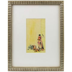 French Art Deco Colored Pencil on Tracing Paper Cubist Illustration Drawing