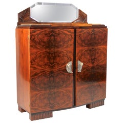 French Art Deco Commode Burr Walnut With Mirror & Marble, France, circa 1925
