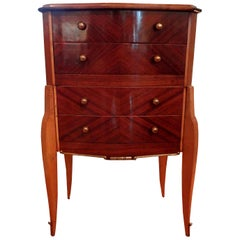 French Art Deco Commode with Bronze Hardware, circa 1935, after Jules Leleu