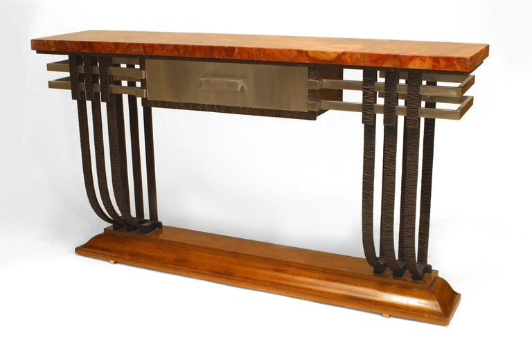 French Art Deco Console With Drawer In Good Condition For Sale In New York, NY