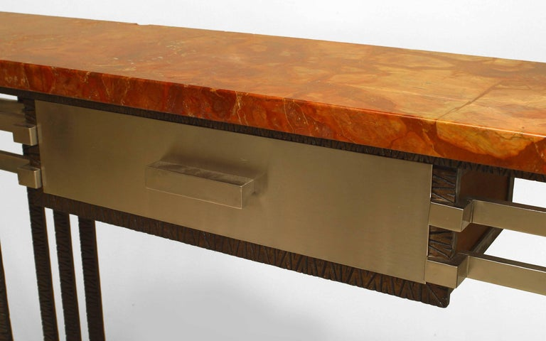 Mahogany French Art Deco Console With Drawer For Sale