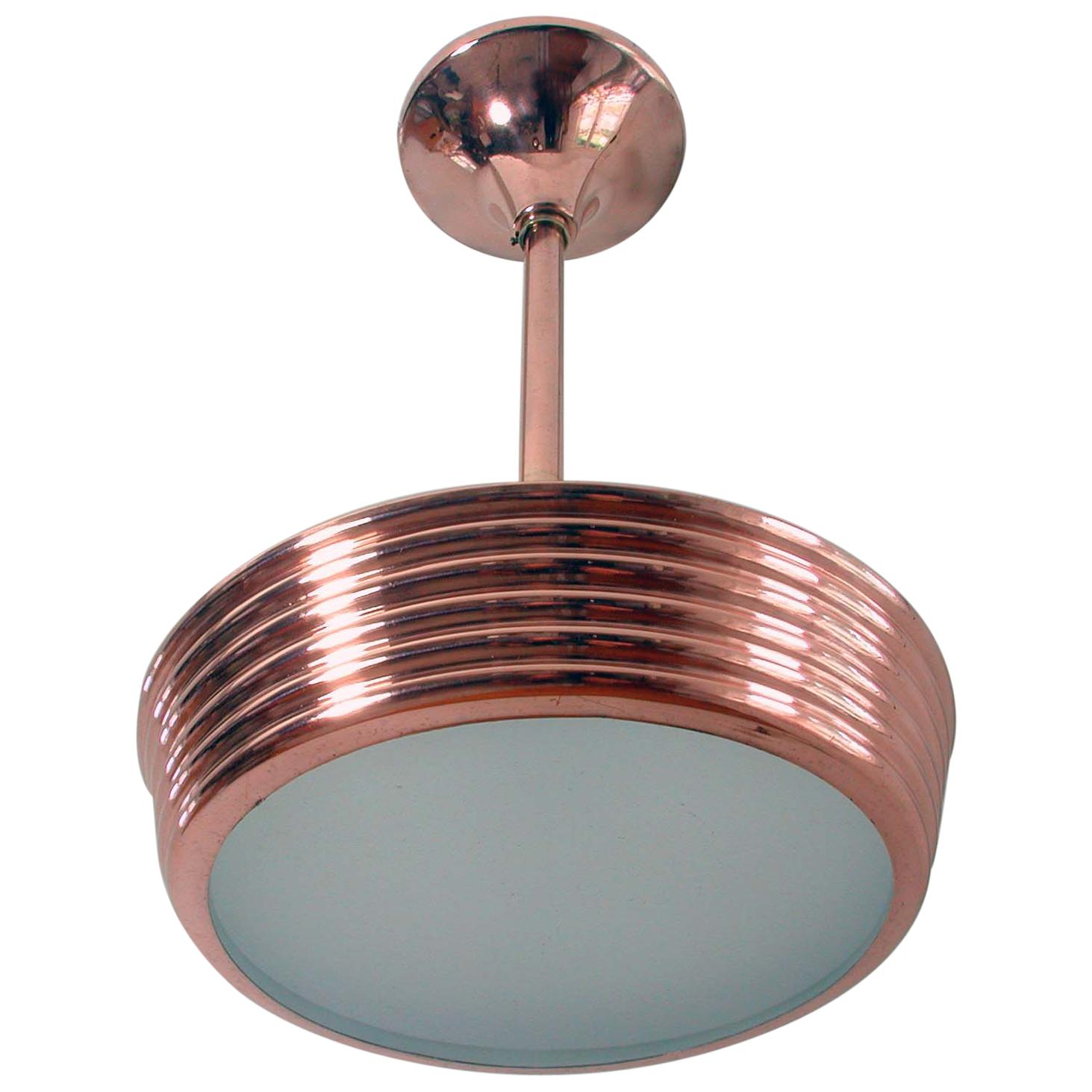 French Art Deco Copper and Satin Glass Flush Mount Pendant, 1930s