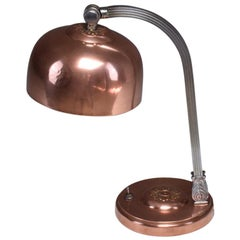 French Art Deco Copper Brass Table Lamp, 1930s
