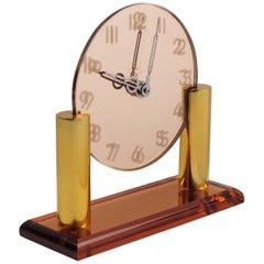 French Art Deco Copper Mirror Peach Glass Brass Table Desk Vanity Clock