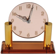 French Art Deco Copper Mirror Peach Glass Brass Table Desk Vanity Clock
