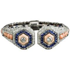 French Art Deco Coral, Diamond and Sapphire Bangle