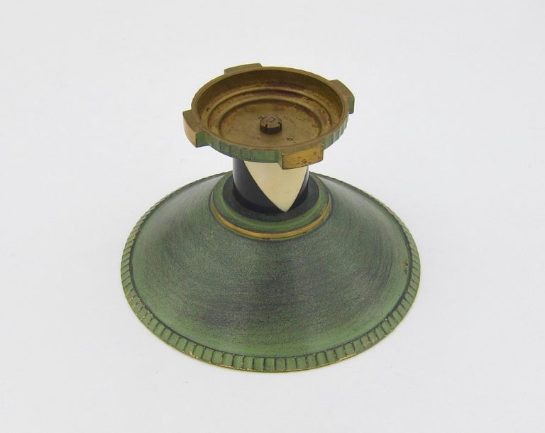 20th Century French Art Deco Coupe in Gilt and Verdigris Metal, Ebony, and Celluloid For Sale