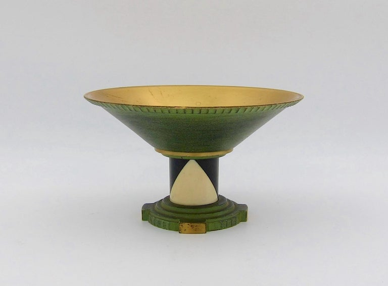French Art Deco Coupe in Gilt and Verdigris Metal, Ebony, and Celluloid For Sale 1
