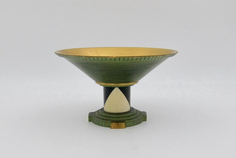 French Art Deco Coupe in Gilt and Verdigris Metal, Ebony, and Celluloid For Sale 2