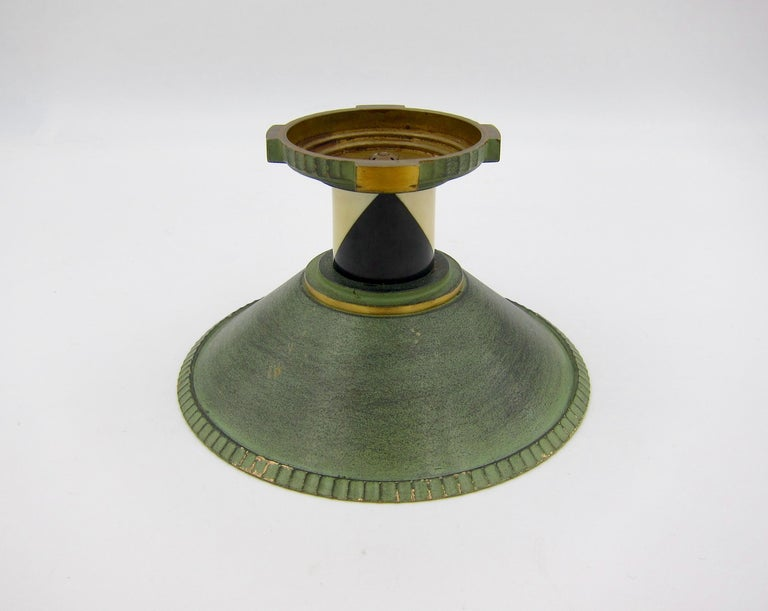 French Art Deco Coupe in Gilt and Verdigris Metal, Ebony, and Celluloid For Sale 3