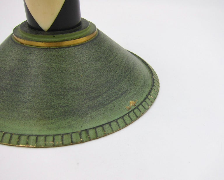French Art Deco Coupe in Gilt and Verdigris Metal, Ebony, and Celluloid For Sale 4