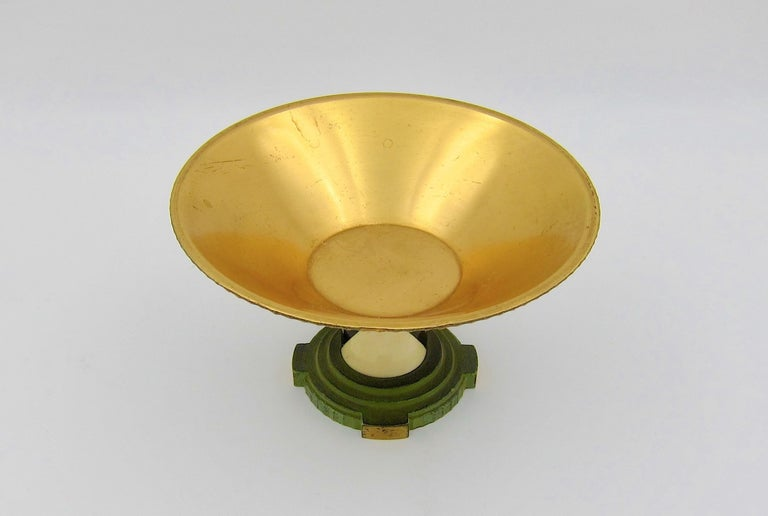French Art Deco Coupe in Gilt and Verdigris Metal, Ebony, and Celluloid For Sale 5