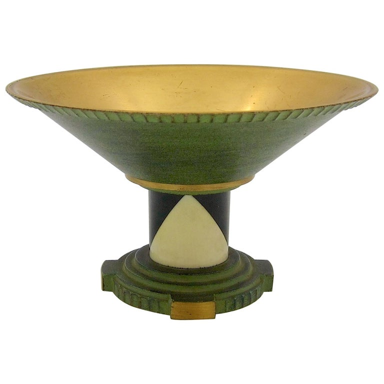 French Art Deco Coupe in Gilt and Verdigris Metal, Ebony, and Celluloid For Sale