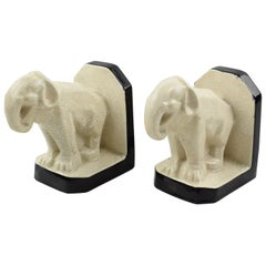 French Art Deco Crackle Ceramic Elephant Sculpture Bookends by Le Moine