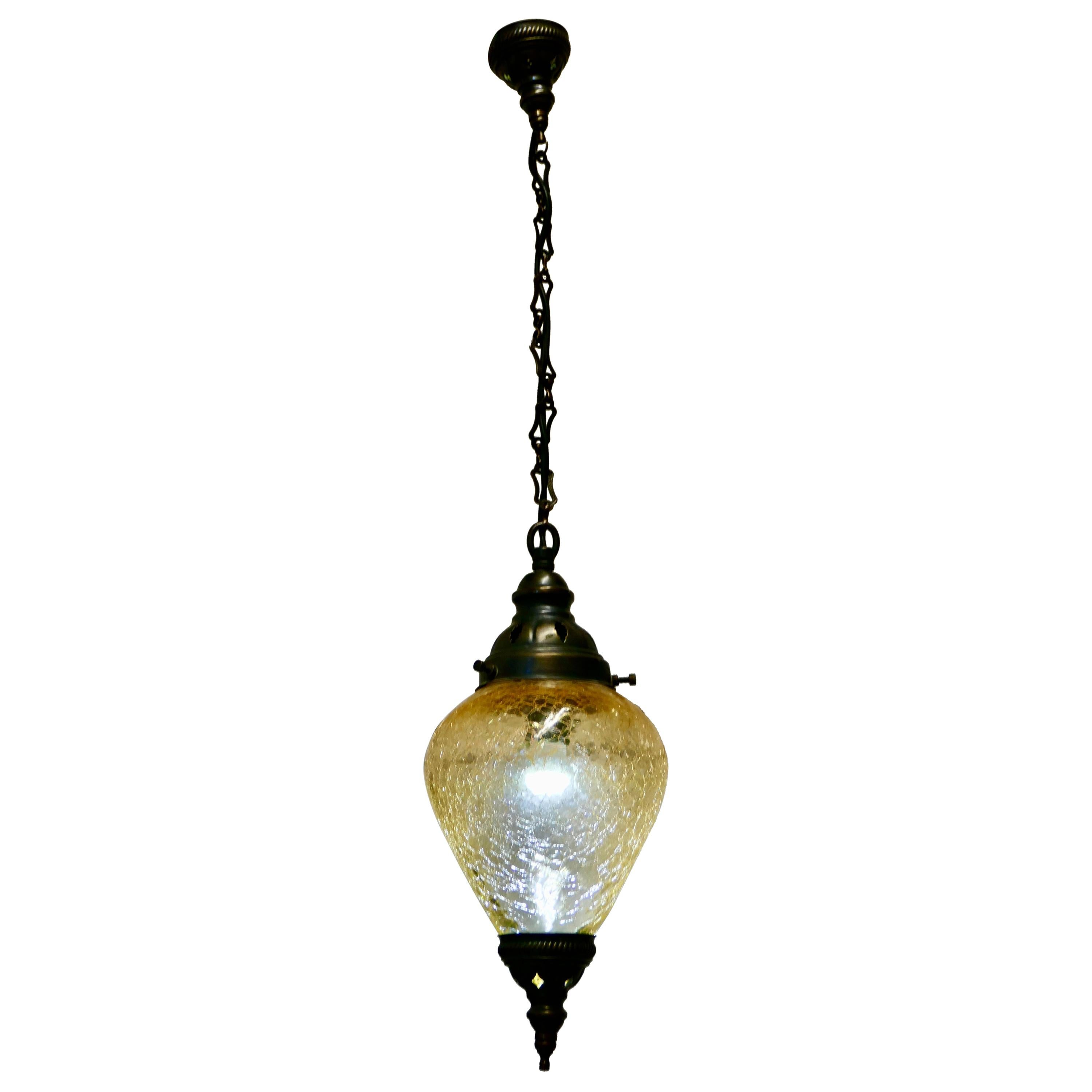 French Art Deco Crackle Glass Hanging Pendant Light