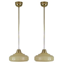 French Art Deco Cream Opaline Glass and Brass Pendants, 1930s-1940s, Set of 2