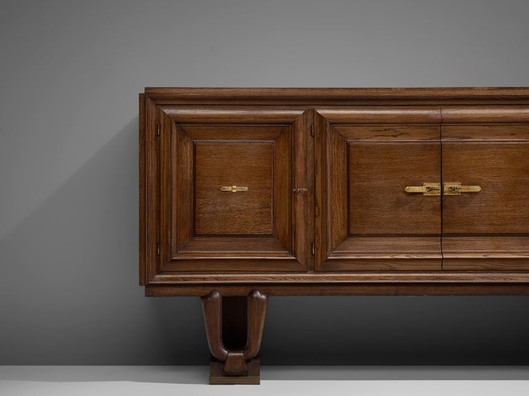 Mid-20th Century French Art Deco Credenza in Darkened Oak For Sale
