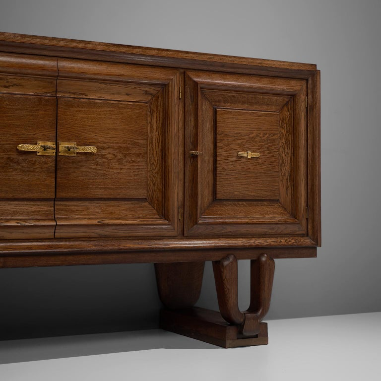 Brass French Art Deco Credenza in Darkened Oak For Sale
