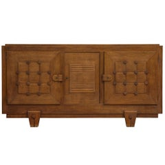 French Art Deco Credenza in Oak with Graphical Details