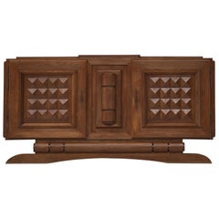 French Art Deco Credenza in Stained Oak