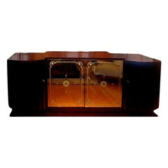 French Art Deco Credenza with Mirrored Doors After Jules Leleu