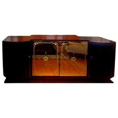 French Art Deco Credenza with Mirrored Doors
