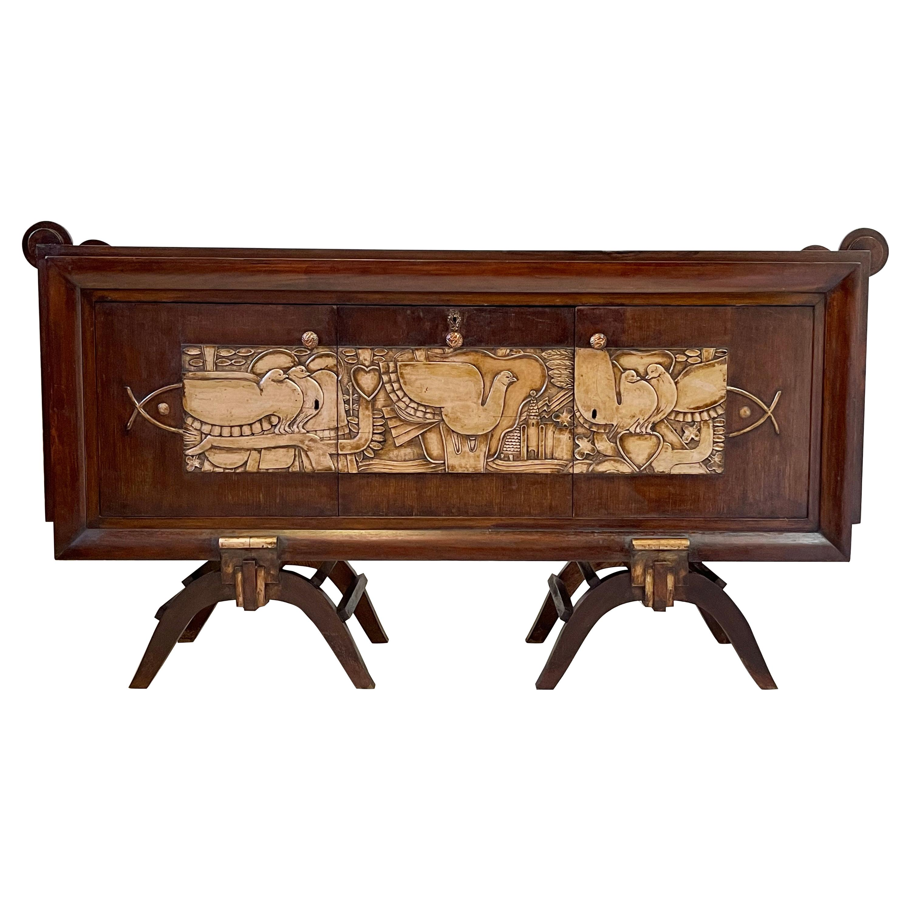 French Art Deco Credenza with Mirrored Dry Bar