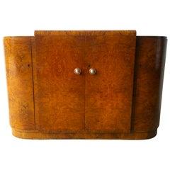 French Art Deco Crotch and Burl Mahogany Veneer Dry Bar / Server Cabinet