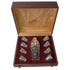 French Art Deco Crystal and Silver Plated Cocktail Shaker / Set by St. Medard