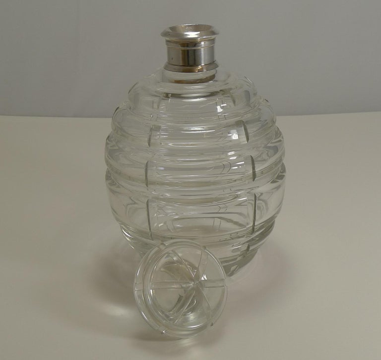 A stunning and unusual decanter made from Bohemian crystal etched on the underside