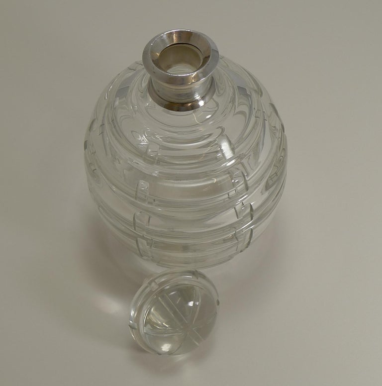 French Art Deco Crystal and Sterling Silver Decanter Signed Keller, Paris In Good Condition For Sale In London, GB