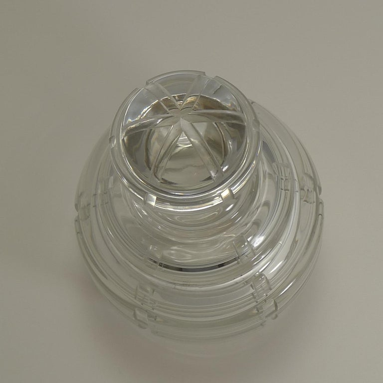 Mid-20th Century French Art Deco Crystal and Sterling Silver Decanter Signed Keller, Paris For Sale