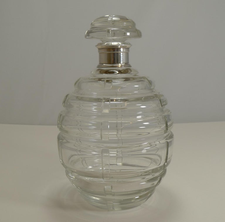 French Art Deco Crystal and Sterling Silver Decanter Signed Keller, Paris For Sale 3