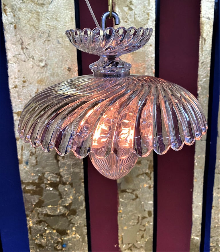 French Art Deco Crystal Flush Mount / Pendant Light, circa 1940, Attr. Baccarat For Sale 5
