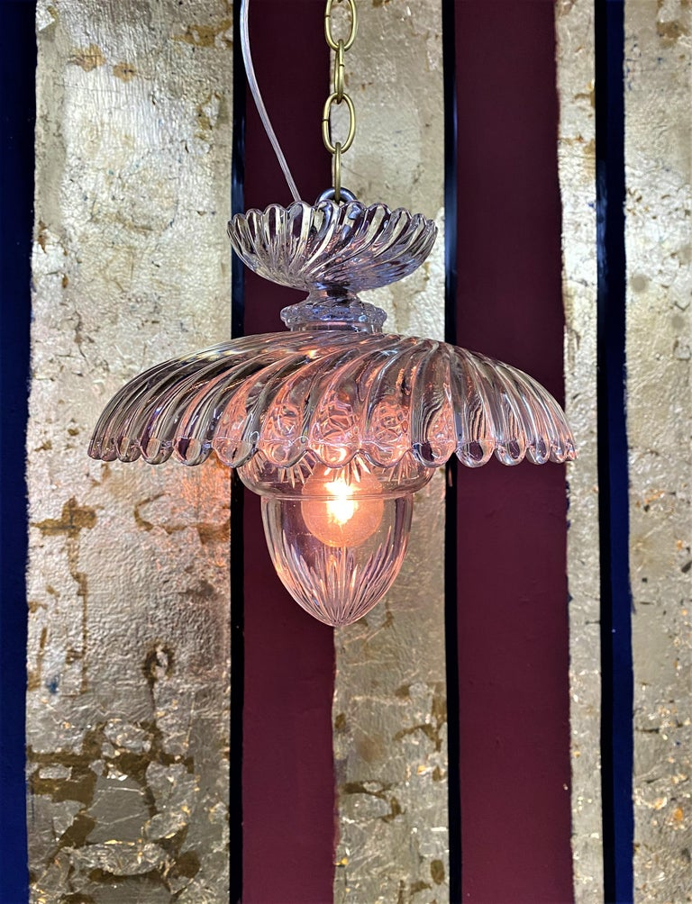 French Art Deco Crystal Flush Mount / Pendant Light, circa 1940, Attr. Baccarat For Sale 6