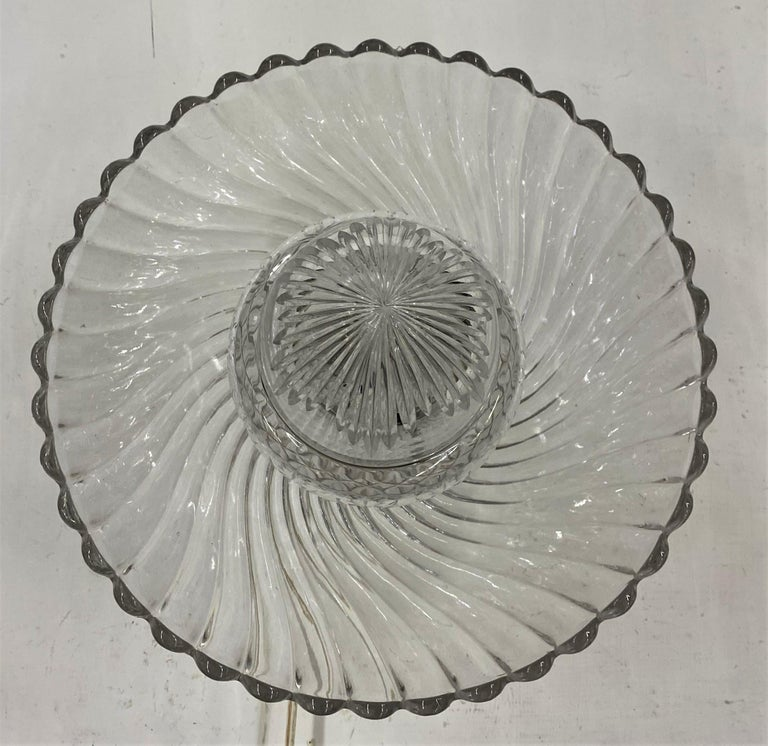 French Art Deco Crystal Flush Mount / Pendant Light, circa 1940, Attr. Baccarat For Sale 10