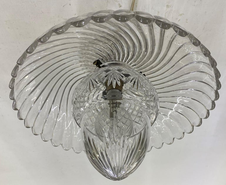 French Art Deco Crystal Flush Mount / Pendant Light, circa 1940, Attr. Baccarat In Good Condition For Sale In Merida, Yucatan