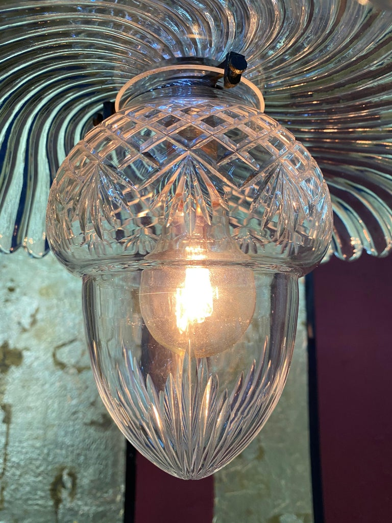 Mid-20th Century French Art Deco Crystal Flush Mount / Pendant Light, circa 1940, Attr. Baccarat For Sale