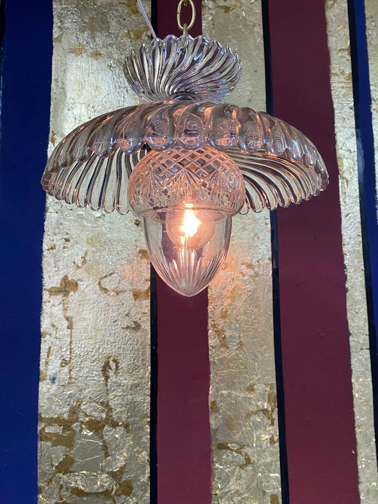 Bronze French Art Deco Crystal Flush Mount / Pendant Light, circa 1940, Attr. Baccarat For Sale