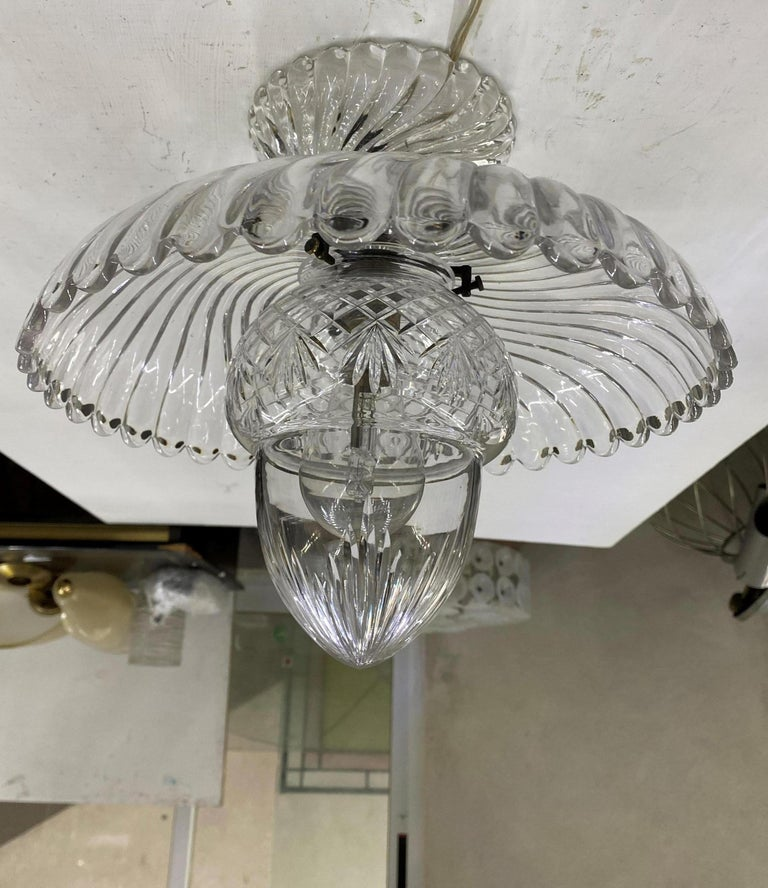 French Art Deco Crystal Flush Mount / Pendant Light, circa 1940, Attr. Baccarat For Sale 3