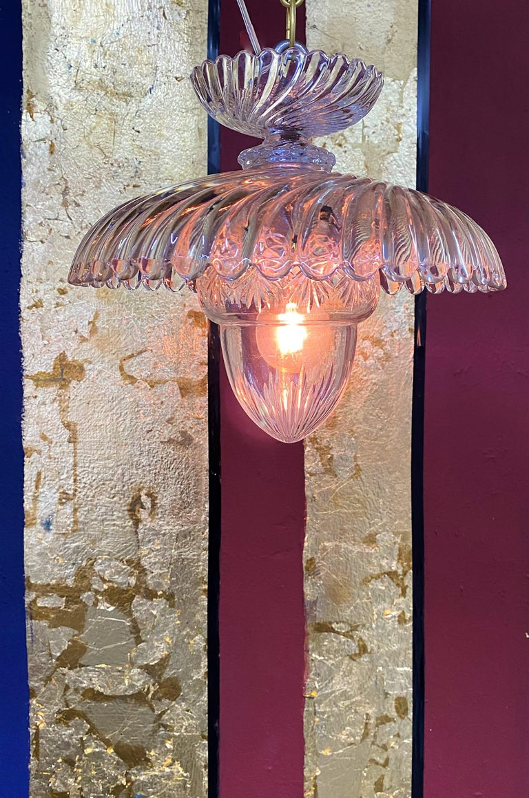 French Art Deco Crystal Flush Mount / Pendant Light, circa 1940, Attr. Baccarat For Sale 4