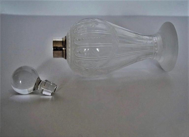 French Art Deco Crystal High Releaf Engraved Perfume Bottle, Sterling Silver For Sale 1