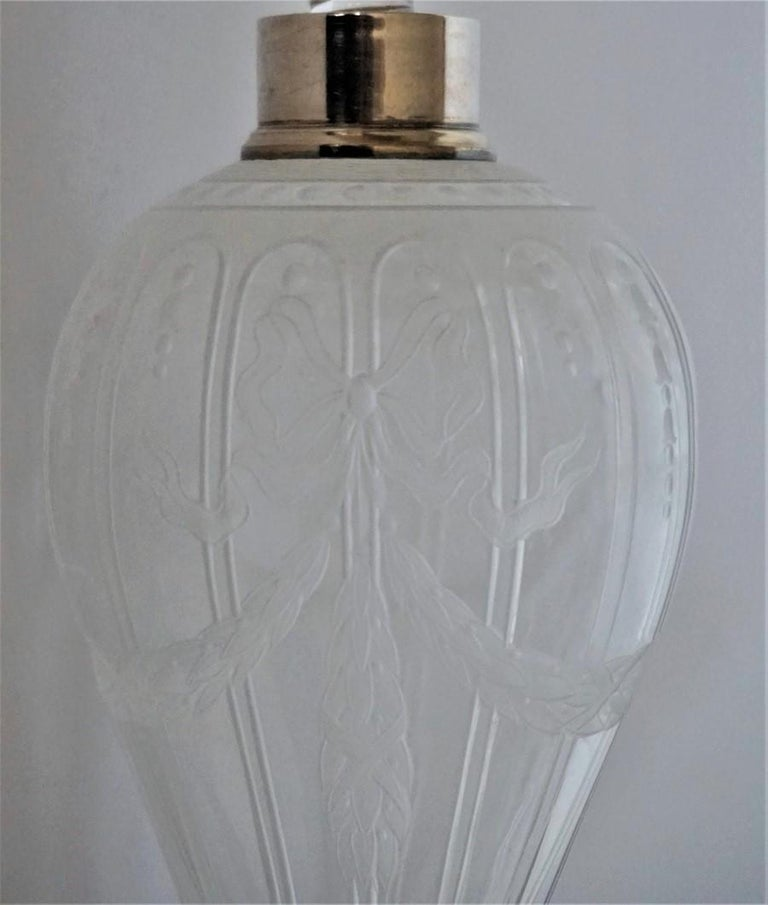 French Art Deco Crystal High Releaf Engraved Perfume Bottle, Sterling Silver For Sale 3